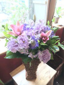 母の日花ギフトフラワーアレンジメント紫